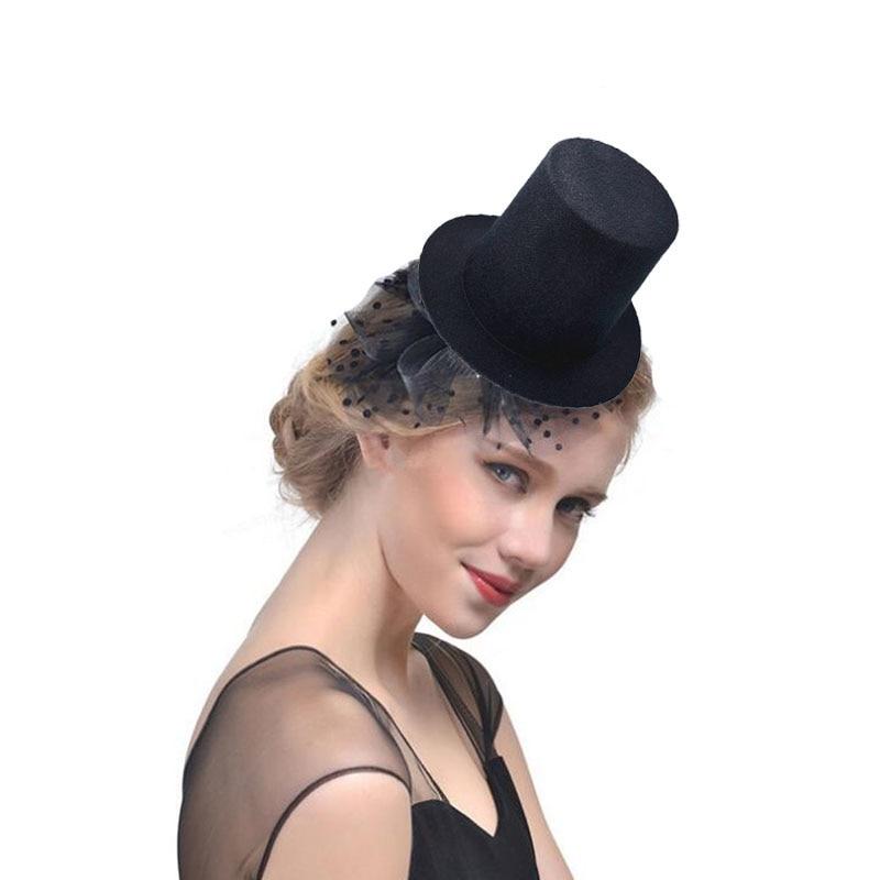 Cute Black Mini Top Hat Hair Clip For Women Girls Wedding Party Carnival Fancy Dress Hat Base DIY Craft Hair Accessories