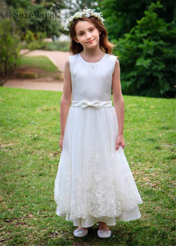 Lovely Elegant Princess Dress with Belt A-line Flower Girl Dress For Wedding Lace Appliques Zipper Back Custom Made Pageant Gown
