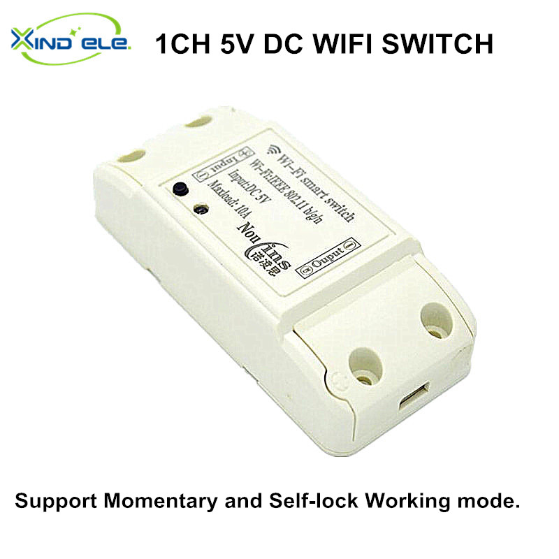 2017 New 1CH DC 5V WIFI Switch Smart Home Module Momentary Selflock Interruptor For Home Automation Light Garage Door dc 12v led display digital delay timer control switch module plc automation new