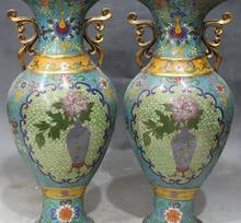 14″Chinese Cloisonne Enamel Gold Gilt Carving Flower Flower Vase Bottle Pot Pair