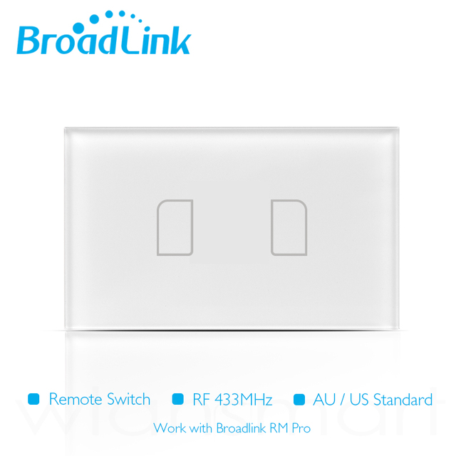 Broadlink TC2 US/AU 2016 New Arrival Light Touch Switch 2Gang Smart Home Wirless Remote Control Wall Switch White Touch Panel