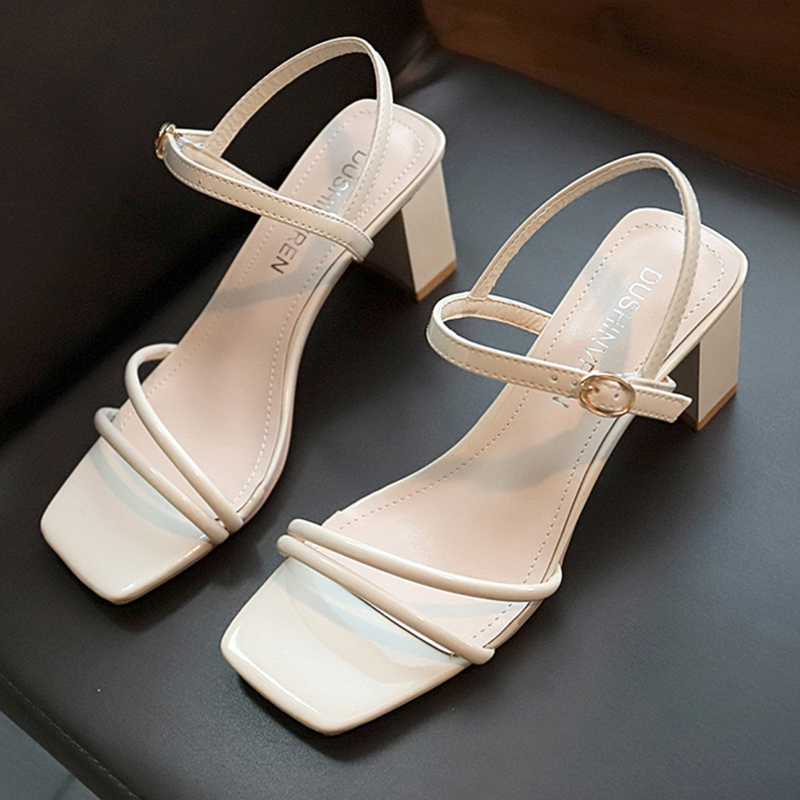 High Heels White Sandals Women Summer 2019 Rope Ankle Strap Sandals Ladies Square Heels Classics Women Shoes Yellow Slippers