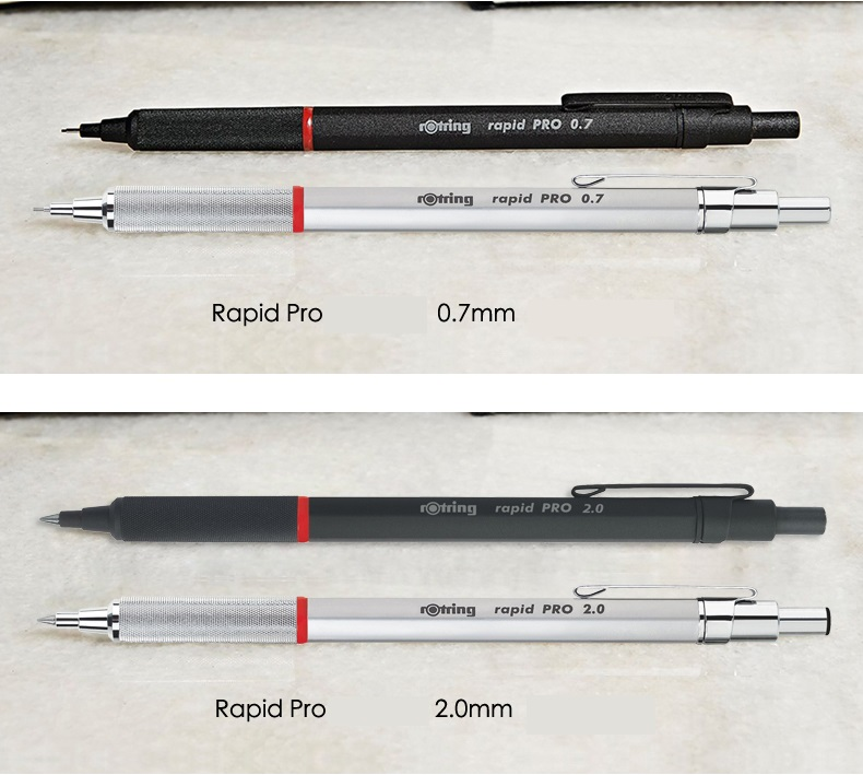 Rotring mechanical pencil Rapid Pro 0.5mm/0.7mm/2.0mm  metal silver/black pen holder automatic pencil drawing pen