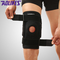 1 PC Brace with Metal plate Professional Sports Safety Knee Support Black