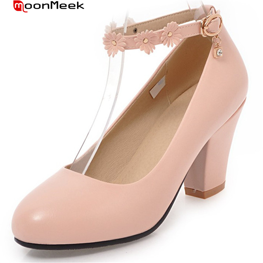 Moonmeek Spring Summer Female Shoes Round Toe Square Heel With