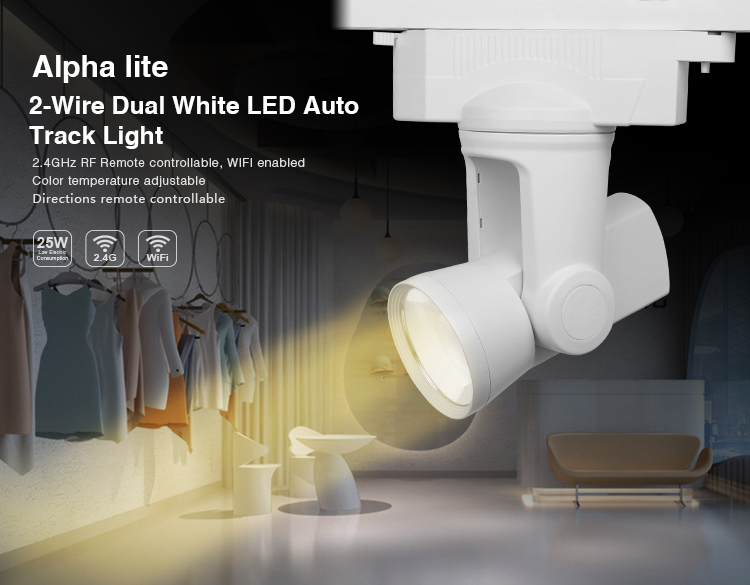 ФОТО Mi Light AC110V-260V 2.4G RF WIFI connection 25W 2 wire Dual White/Warm White LED Auto Track Light color temperature adjustable