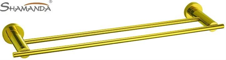 ФОТО Free Shipping (64cm)Double towel bar/towel holder,Solid Brass Made, Golden finish,Bathroom Hardware,Bathroom accessories-63009