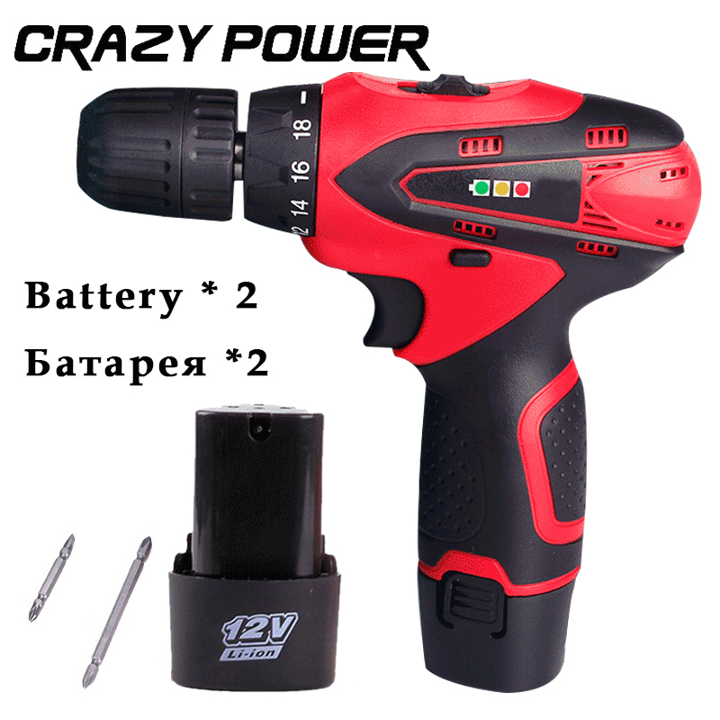 Crazy Power 12V rechargeable lithium battery*2 torque electric drill household electric screwdriver hand Cordless screwdrive gun  цены