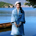 MX140 New Arrival 2016 light blue embroidered patchwork wool coat turn down collar loose long autumn winter coat women