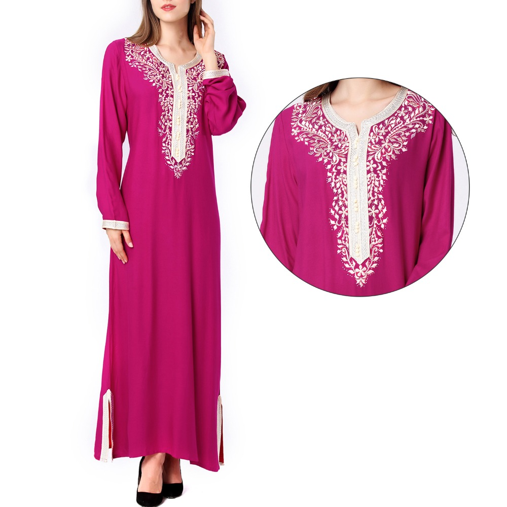 Muzulmán nők Hosszú ujjú hijab Dress maxi abaya jalabiya iszlám női ruha ruházat köntös kaftan Marokkói divat embroidey1631