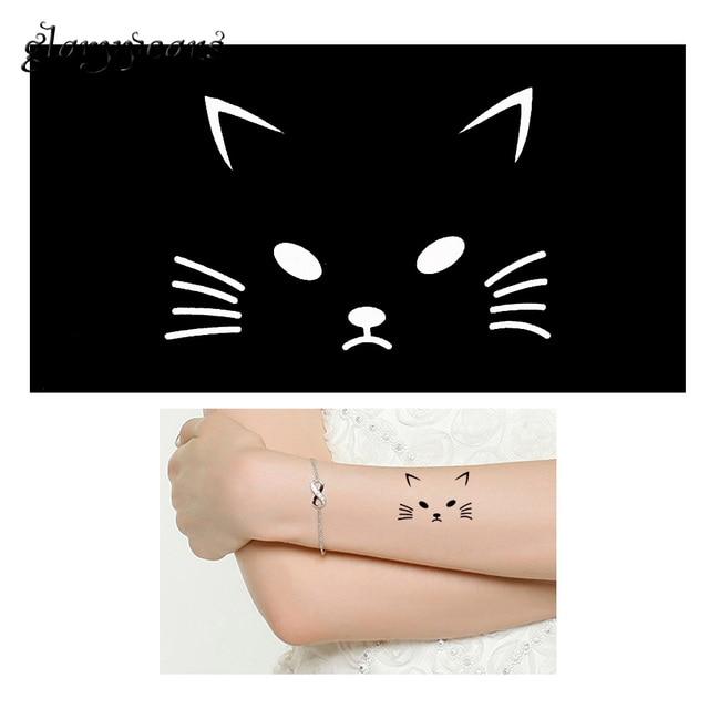 1 piece hollow indian henna tattoo stencil cute cartoon cat design health body art paint mehndi