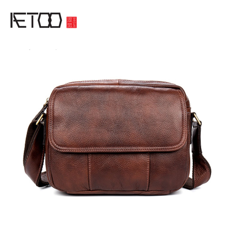AETOO Casual leather shoulder bag oblique shoulder bag male bag wild first layer of leather oblique shoulder bag female aetoo first layer of leather shoulder bag female bag korean version of the school wind simple wild casual elephant pattern durab