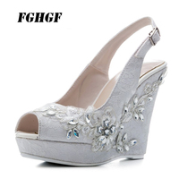 High heeled wedge diamond sandals White lace fishmouth lace wedding shoes Banquet bridesmaid shoes elegant Size code 33 41