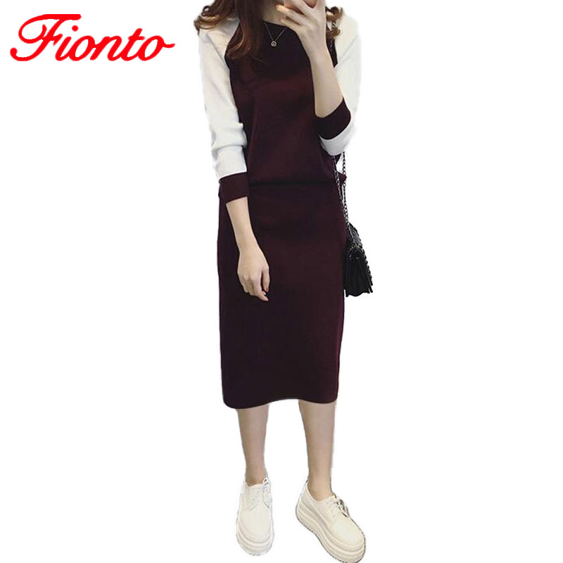 2017 2 New Piece Set Women Suit Winter Crop Top And Skirt Set Female O Neck Black Skirt  ...