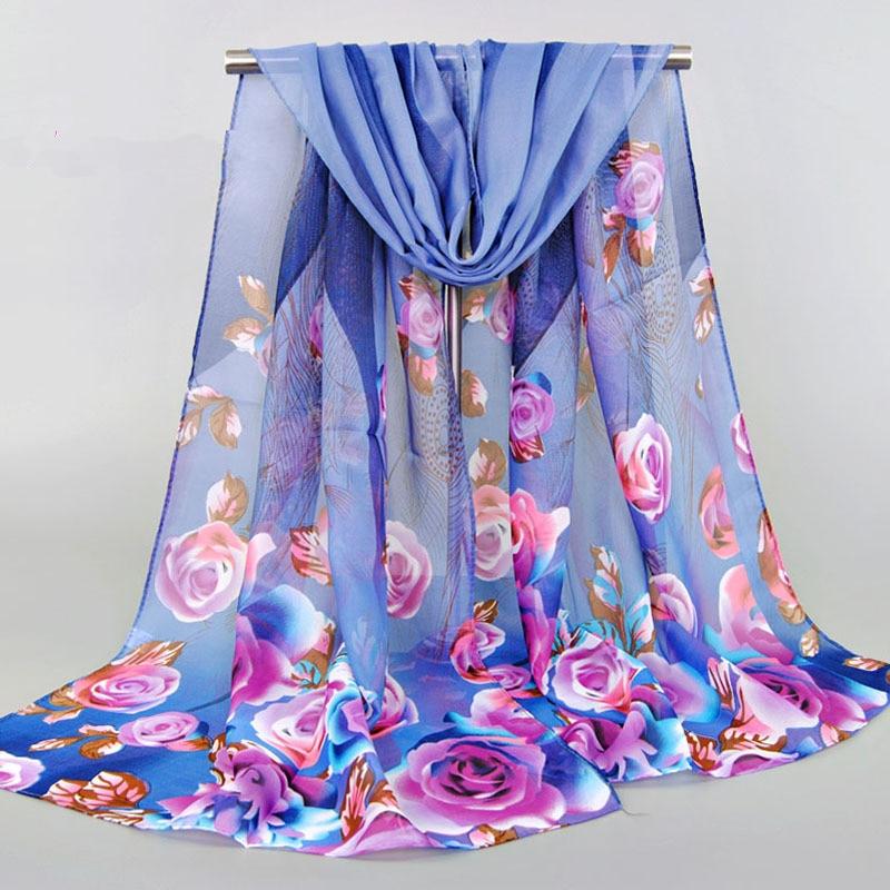 From India Promotion 2017 Rose Print Chiffon Polyester Scarves Woman Thin Shawl Turban Belt Hijab Fashion Arabic Scarfs Wrap