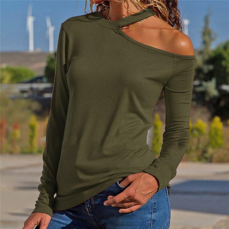 2019 Della Molla Di Modo Di Nuovo Stile Top Magliette Sexy Delle Donne Del Collare Irregolare T-shirt Off-the-spalla A Maniche Lunghe Donna Tshirt