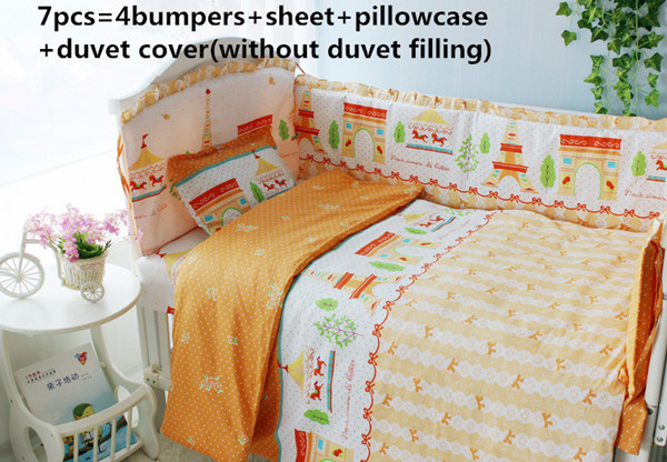 Promotion! 6/7PCS Mickey Mouse Baby Bedding Set Colorful Baby Bed Bumper 100% Cotton Cot Bedding,Duvet Cover ,120*60/120*70cm
