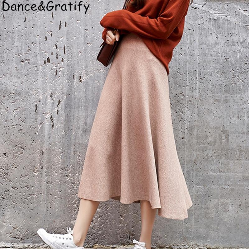 New 2019 Big Swing Knitted Woman Skirts Winter Autumn Long Skirts Solid Maxi Skirt High Waist Saia Longa Femme