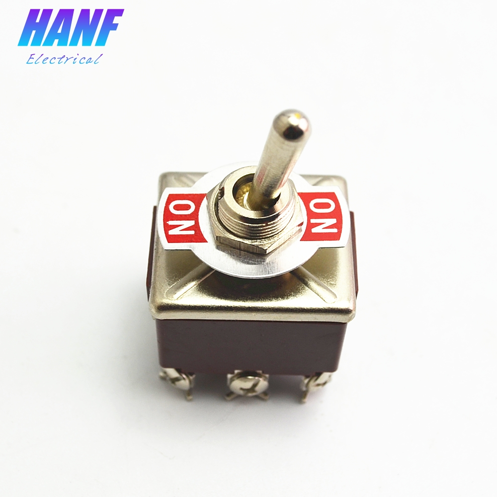 1pcs Toggle Switch And Rocker  2 Positions ON-ON 9 Pins 3PDT 15A 250VAC
