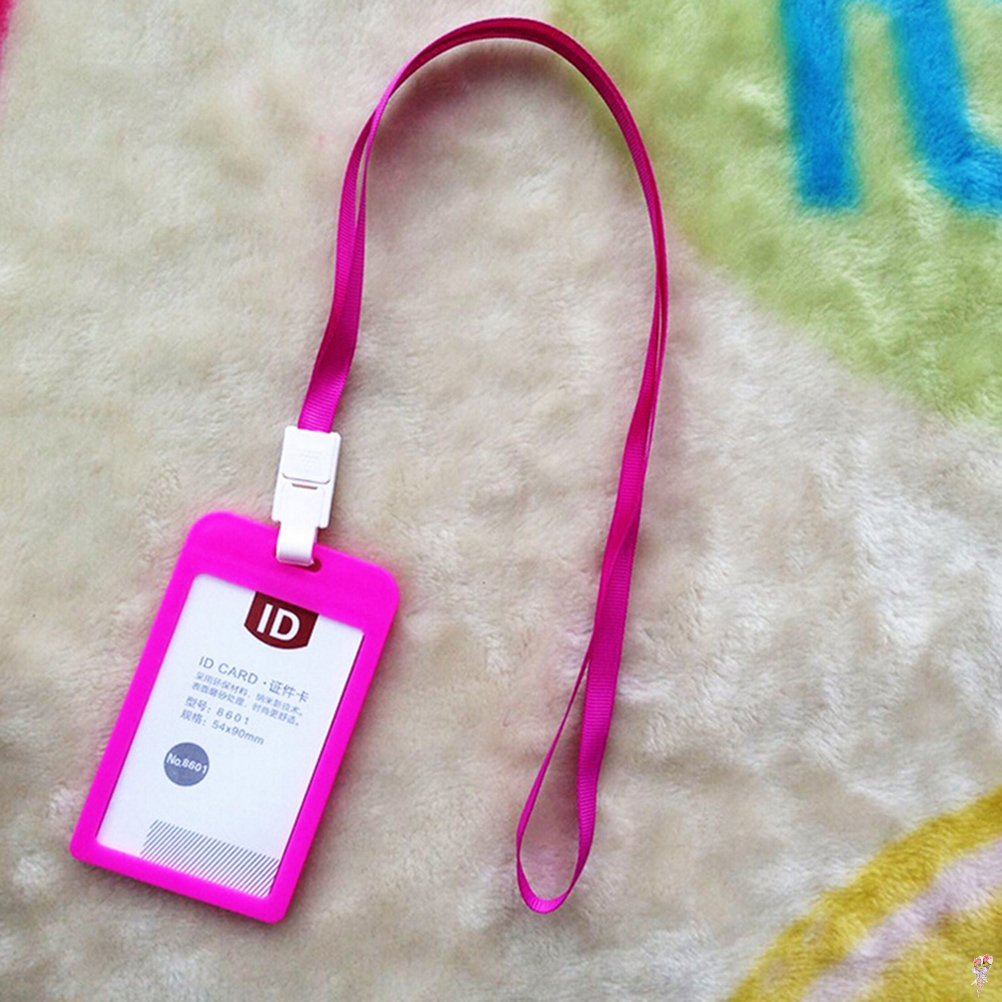 109*66mm PP ID Card Holder Candy Colors Name Tag Exhibition Cards Business Badge Holder With Lanyard School Office Supplies