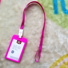 109*66mm PP ID Card Holder Candy Colors Name Tag Exhibition Cards Business Badge With Lanyard School Office Supplies