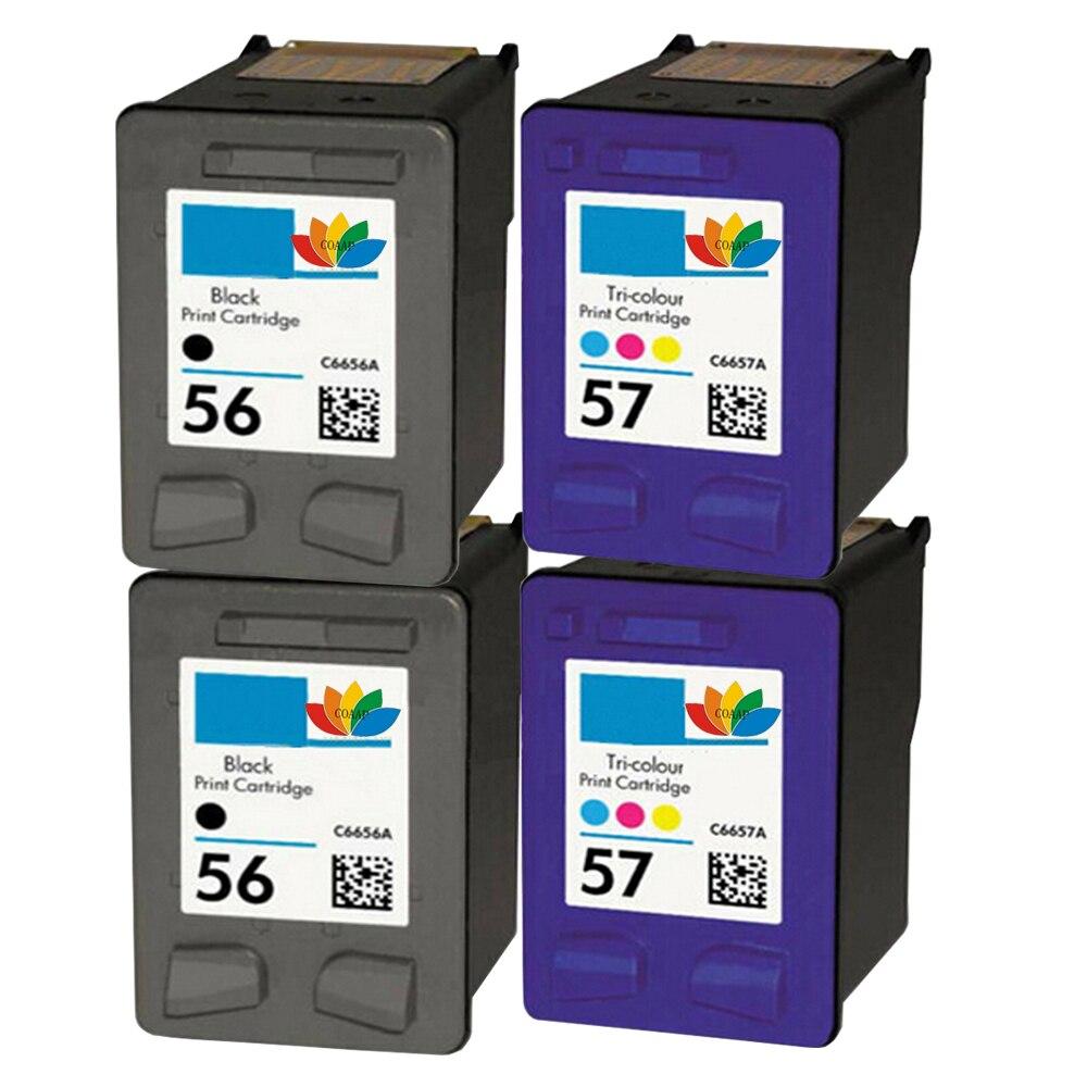4 cartouche d'encre rechargée pour hp 56 57 hp 56 hp 57 Deskjet 450 5150 5150c OfficeJet 2110 4110 4110xi PhotoSmart 100 230 7150 v