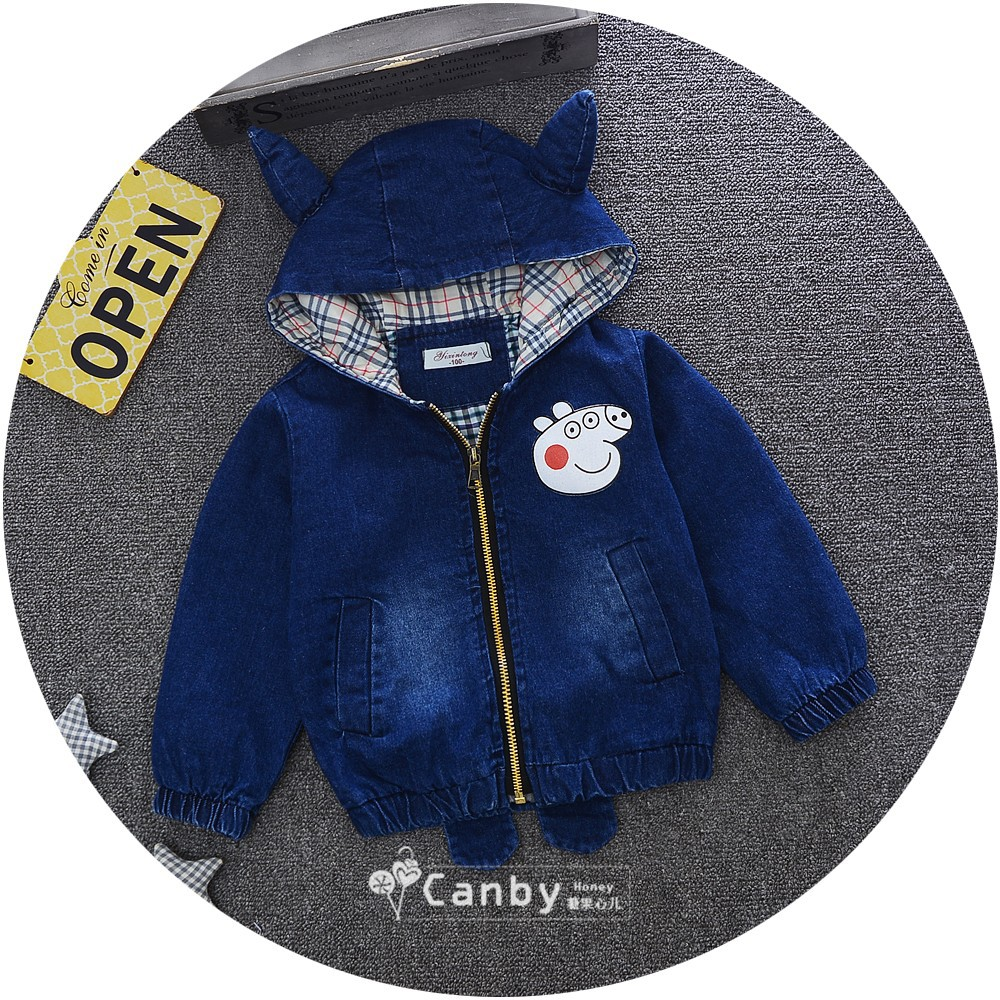 Kinder Baby Denim Jacket with Ears Kids Hooded Jean Jackets for Gils Boys Autumn Baby Children Long Sleeve Hood Zip Child Coat