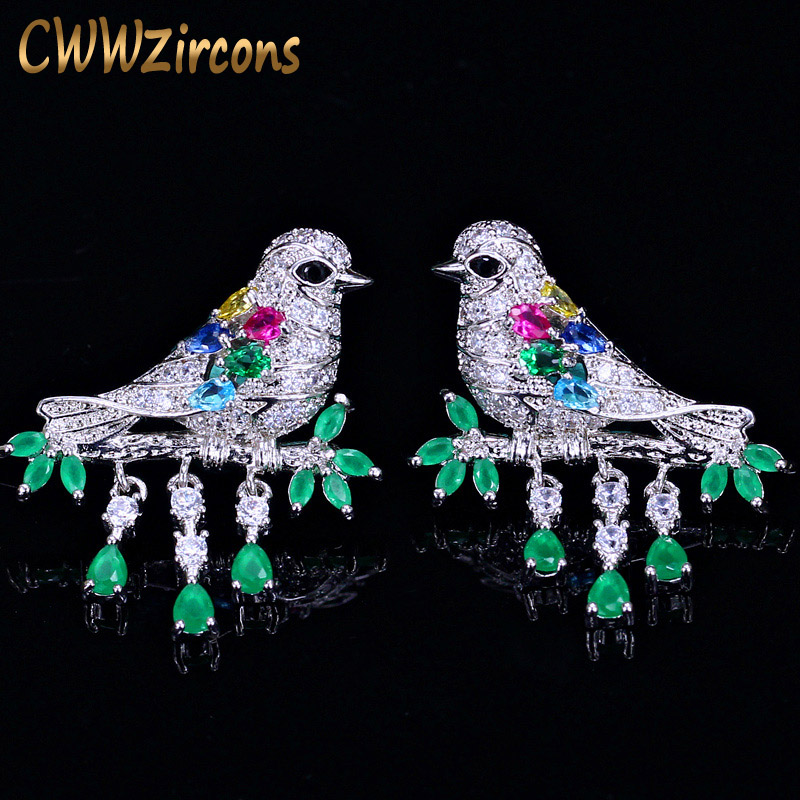 CWWZircons Lucky Animal Gift Jewelry Elegant Colorful Cubic Zirconia Sterling Silver 925 Bird Drop Earrings For Women  CZ101