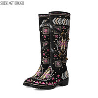 New Winter Shoes Woman Boots 4cmMed Heel knee high Boots Retro Embroider Women Boots Bohemia Charm Boots