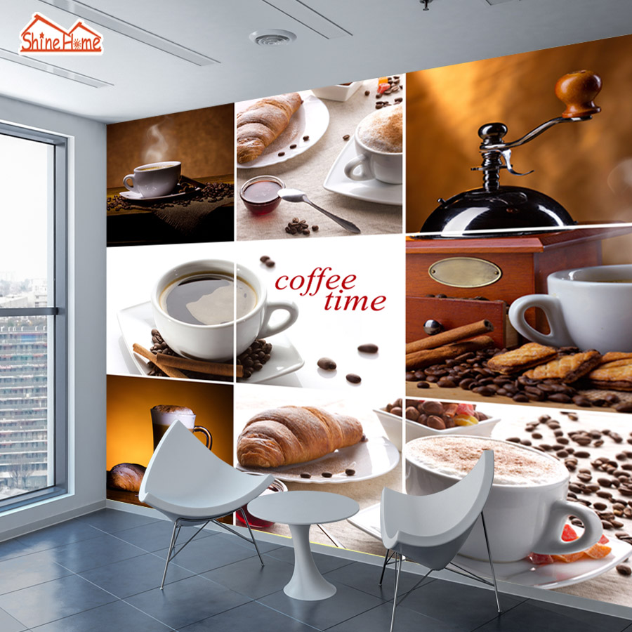 ShineHome- Large Custom Coffee Time Cafe Bar Wallpapers 3D Wall Murals Contact Paper Home Decor Living Room Wallpaper-Roll-Size shinehome maple leaf floral golden wallpaper for 3d rooms walls wallpapers for 3 d living room wall paper murals mural roll