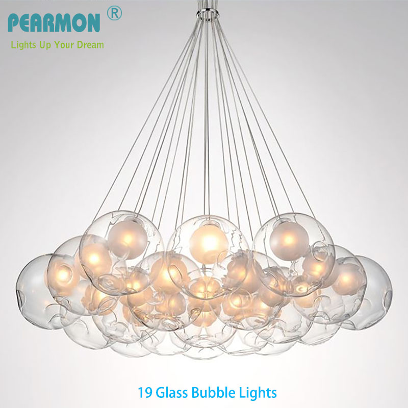 Creative Double Ball Glass Bubble Ball Chandelier Lamp Modern Pendent Lamp Dining Room Clothing Shop Cafe Pendent Lights Fixture ledream contracted and creative personality sitting room dining room art glass chandelier american cherry branches pendent lamp