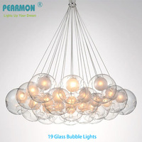 Creative Double Ball Glass Bubble Ball Chandelier Lamp Modern Pendent Lamp Dining Room Clothing Shop Cafe Pendent Lights Fixture