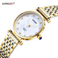 LONGBO 2017 Wristwatch Gold Steel Band Women Watches Top Brand Luxury Fashion Ladies Quartz Watch Female