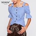 2017 Hot Sale Plus Size Mulheres Blusas Sensuais de Alta Qualidade malha Vazamento Ombro Lazer Moda Personalidade Mulheres Blusa 1823