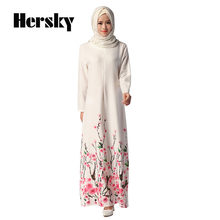 2388f11e8474 Étnica Mulheres Dubai Kaftan Abaya Moda Vestuário Islâmico Muçulmano Floral  Impresso Vestido Branco Feminino Vestidos Turco