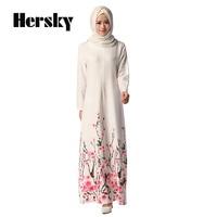 a1409d984fce92 Ethnic Dubai Women Abaya Kaftan Fashion Muslim Floral Printed White Dress  Islamic Female Clothing Turkish Robe