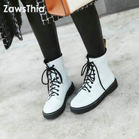 ZawsThia 2018 new white black casual woman winter warm shoes lace up punk gothic ankle boots dr martens martin boots size 42 43