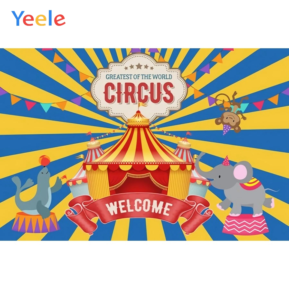 Yeele Vinyl Circus Animals Children Birthday Party Photography Backdrops Baby Child Stripe Photographic Backgrounds Photo Studio