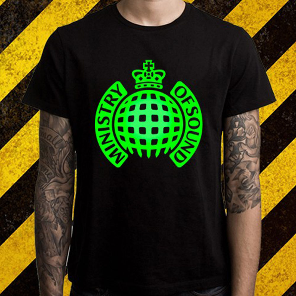 Gildan New Ministry of Sound Electro House Music Logo Men's Black T-Shirt Size S To 3XL Top Quality T Shirts Men O Neck Top Tee