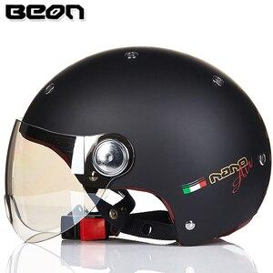 Image 3 - Мотоциклетный шлем BEON с полулицевой поверхностью, винтажный мотоциклетный шлем с открытым лицом, шлем для скутера, велосипедный шлем M L XL