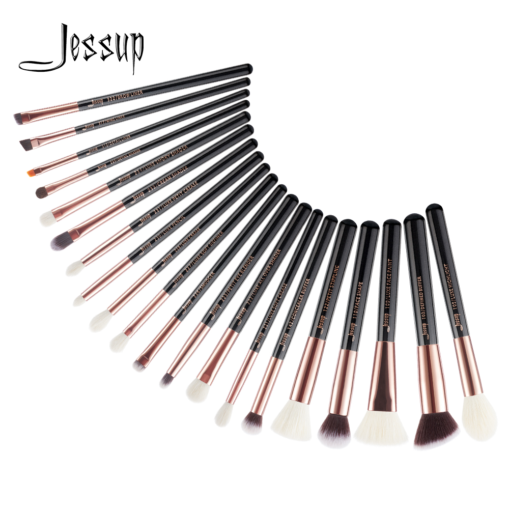 Jessup Brushes 20pcs Rose Gold/Black Professional Makeup Brushes Set Cosmetics Brush Tools kit Foundation Powder Brushes T165