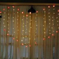 2.4 M Romantik Peri Gül Led Perde Dize Işık Sıcak beyaz EU220V Noel Garland Düğün Parti Tatil Dekorasyon Için Işık