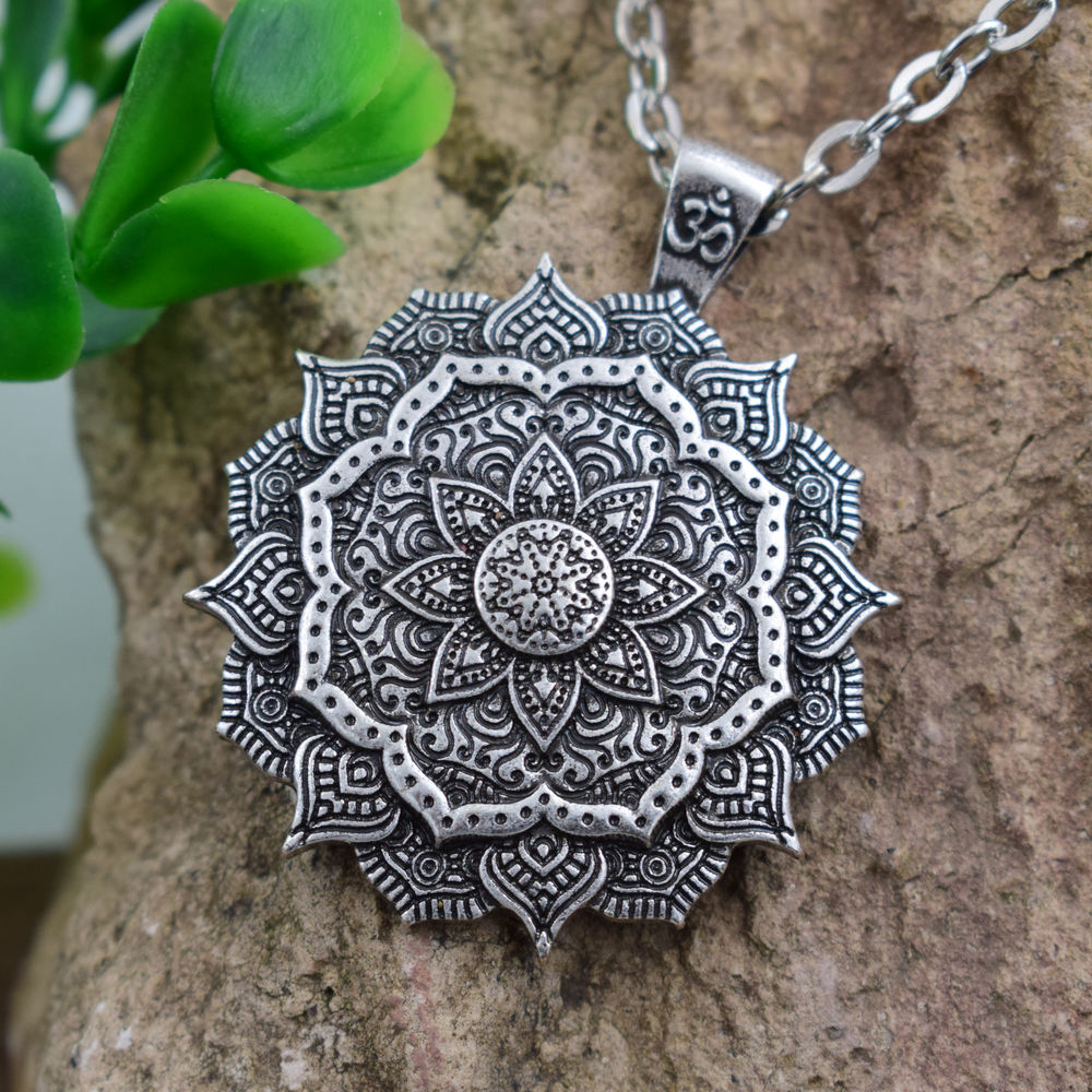 Lotus OM Buddhist Zen Yoga Amulet Jewel Necklace Pendant Flower Mandala Sacred Geometry Gift Original Unisex Woman Man