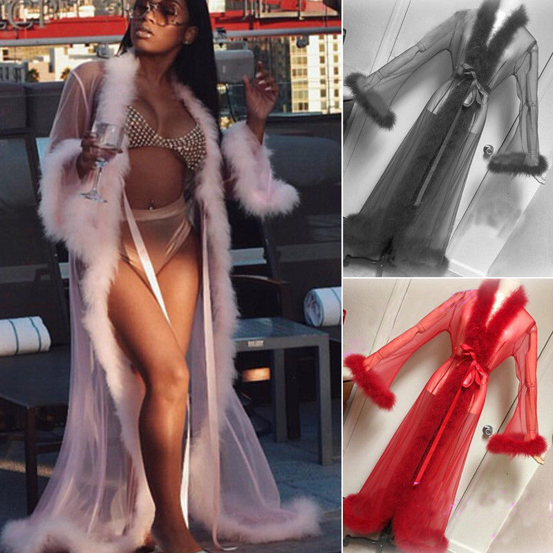 2018 Brand New Women Sexy Lace Sheer Long Robe Nightgown Bathrobe Pajamas Nightdress Sleepwear See Through Trench