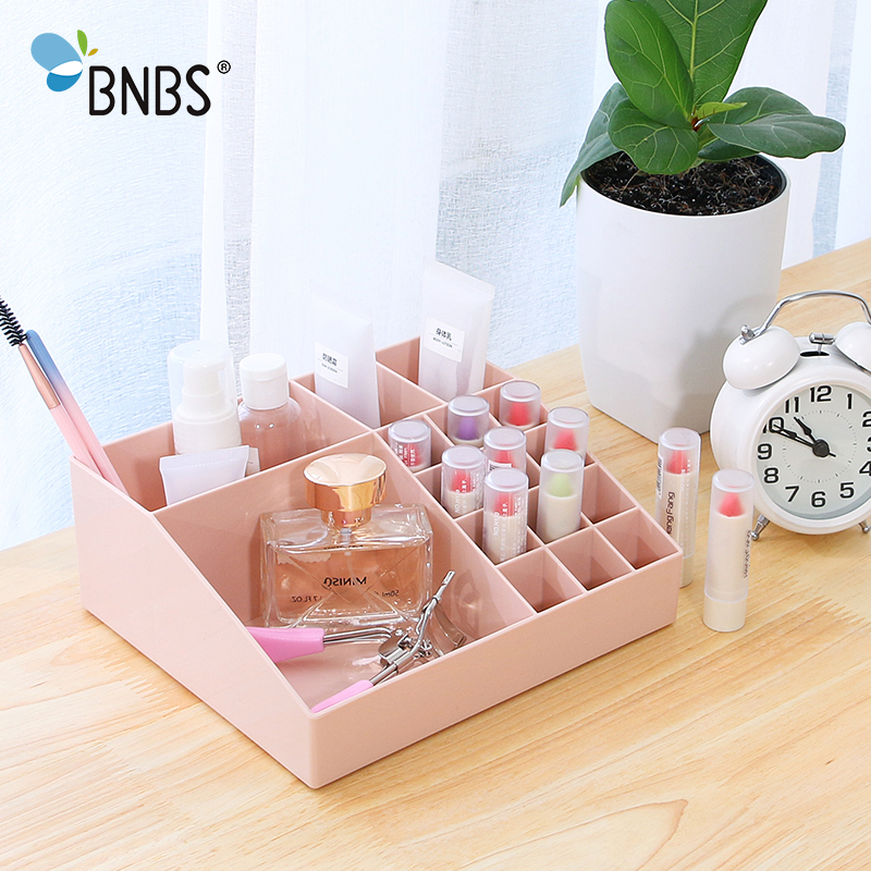 BNBS Cosmetic Organizer Jewelry Desk Makeup Box Lipstick Holder Multifunctional Stationery Sundries Desktop Storage Plastic Box