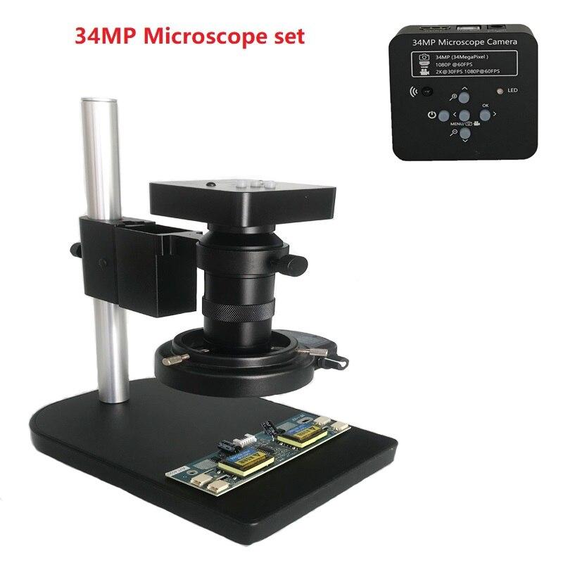 130X c-mount lentille 34MP 1080P 60FPS HDMI USB industrielle électronique Microscope caméra led lumières stand pour téléphone CPU PCB réparation