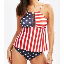 цены на Women Bikini Set Bandage Push-Up Padded Swimwear Satrs Stripes Swimsuit American Bathing Suit  в интернет-магазинах