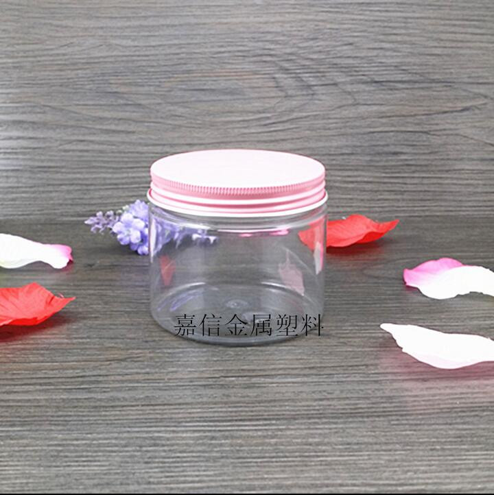Free Shipping 180g Clear Lucency Plastic PET Empty Bottle Jar Pinck Aluminum Screw Lid  Lucency Clear Empty Cosmetic Containers