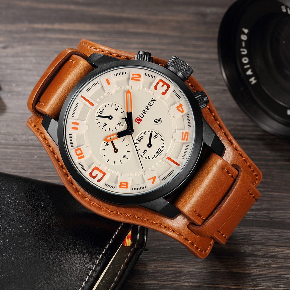 HTB1aD6sObvpK1RjSZPiq6zmwXXaK CURREN Top Brand Luxury Men Watches Male Fashion & Casual Sport Military Clock Leather Strap Quartz Business Men Watch Gift 8225