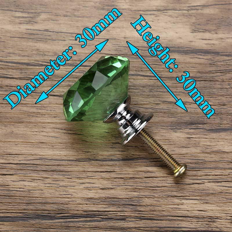 KAK 30 мм Алмазная форма дизайн хрустальные стеклянные ручки Шкаф Тянет ручки ящика кухонный шкаф ручки Мебельная ручка фурнитура - Цвет: Green